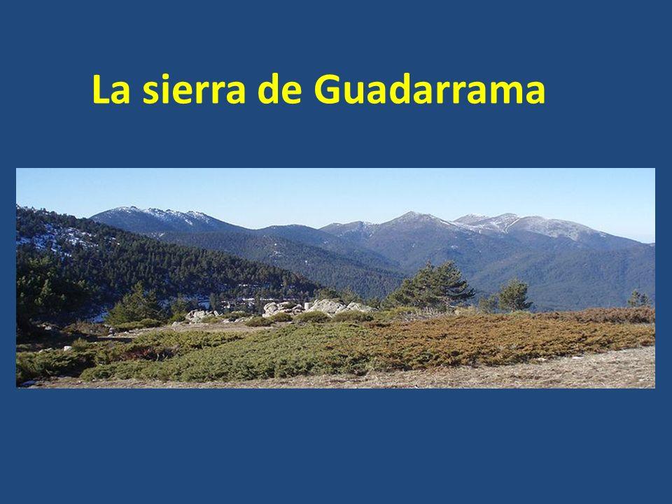 La sierra de Guadarrama Se extiende desde el puerto de Somosierra hasta el valle del Alberche. Es el mayor conjunto de la región. En él predominan las