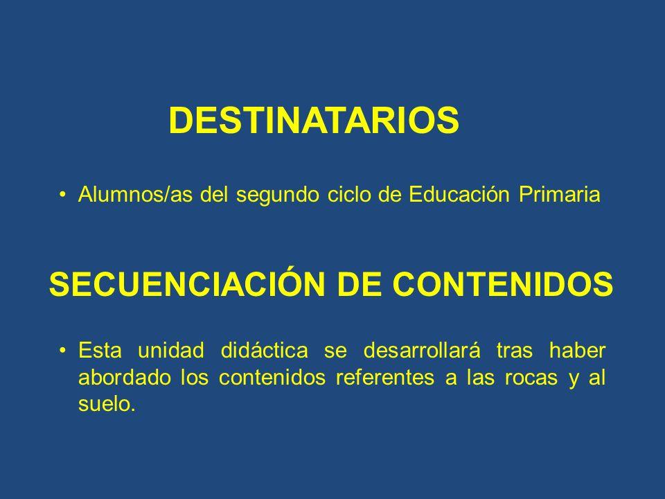 DESTINATARIOS Alumnos/as del segundo ciclo de Educación Primaria SECUENCIACIÓN DE CONTENIDOS Esta unidad didáctica se desarrollará tras haber abordado