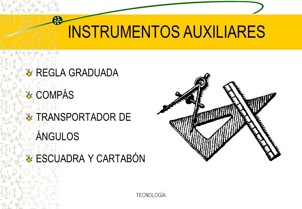 TECNOLOGÍA INSTRUMENTOS AUXILIARES REGLA GRADUADA COMPÁS TRANSPORTADOR DE ÁNGULOS ESCUADRA Y CARTABÓN