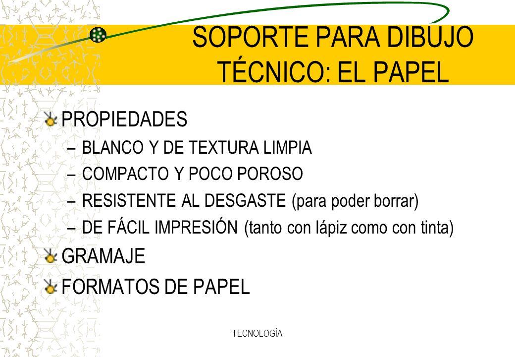 TECNOLOGÍA SOPORTE PARA DIBUJO TÉCNICO: EL PAPEL PROPIEDADES –BLANCO Y DE TEXTURA LIMPIA –COMPACTO Y POCO POROSO –RESISTENTE AL DESGASTE (para poder borrar) –DE FÁCIL IMPRESIÓN (tanto con lápiz como con tinta) GRAMAJE FORMATOS DE PAPEL