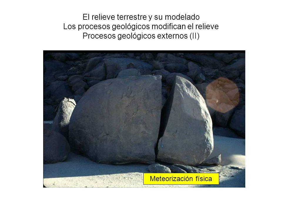 El relieve terrestre y su modelado Los procesos geológicos modifican el relieve Procesos geológicos externos (II) Meteorización física