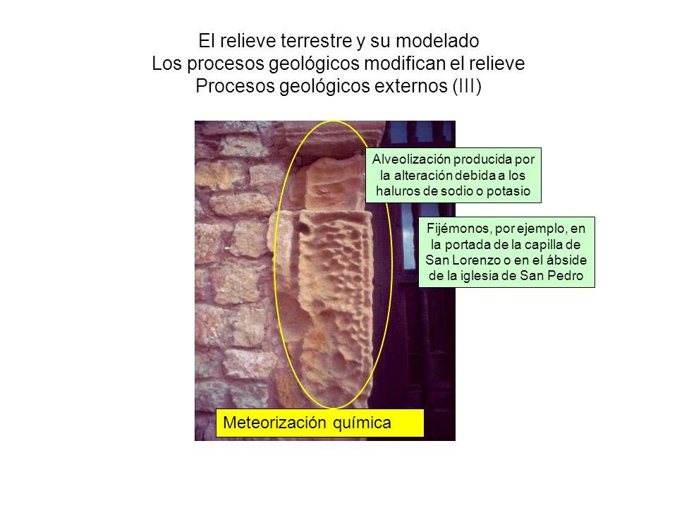 El relieve terrestre y su modelado Los procesos geológicos modifican el relieve Procesos geológicos externos (III) Meteorización química Fijémonos, po