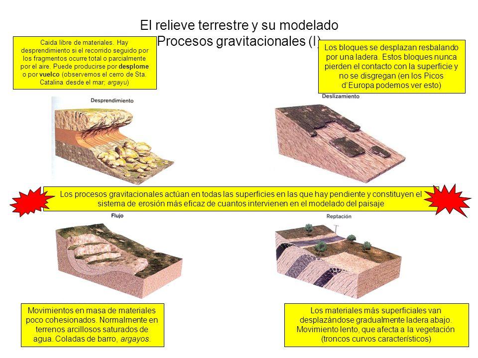 El relieve terrestre y su modelado Procesos gravitacionales (I) Caida libre de materiales. Hay desprendimiento si el recorrido seguido por los fragmen
