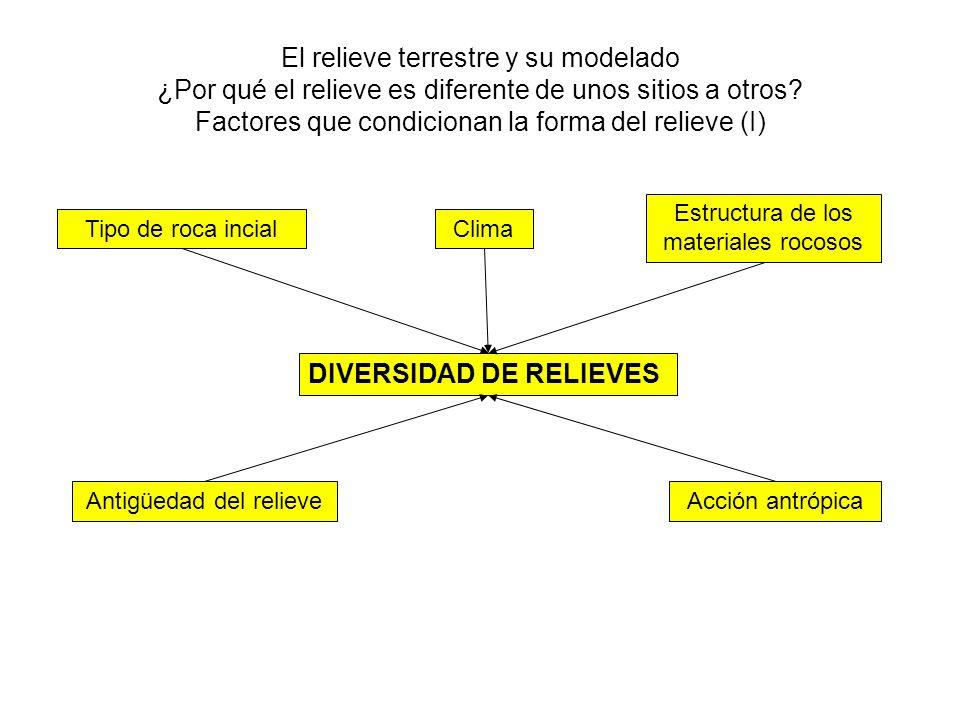 El relieve terrestre y su modelado ¿Por qué el relieve es diferente de unos sitios a otros? Factores que condicionan la forma del relieve (I) DIVERSID