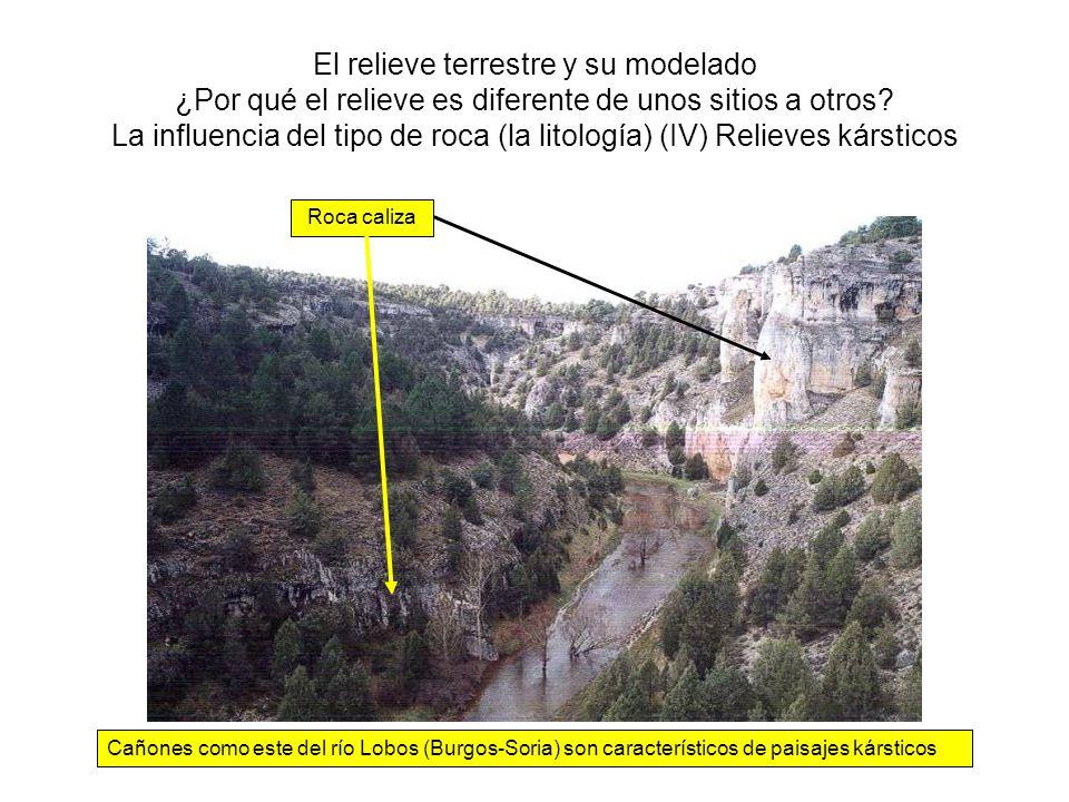 El relieve terrestre y su modelado ¿Por qué el relieve es diferente de unos sitios a otros? La influencia del tipo de roca (la litología) (IV) Relieve