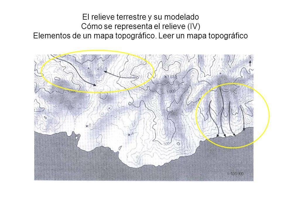 El relieve terrestre y su modelado Cómo se representa el relieve (V) Trabajar con escalas En el plano se mide la distancia A-B (puntos a la misma cota), que se multiplica por la escala (100.000), obteniéndose la distancia real en el terreno La distancia real A-Cota 1813 es la hipotenusa del un triángulo rectángulo 1813 m