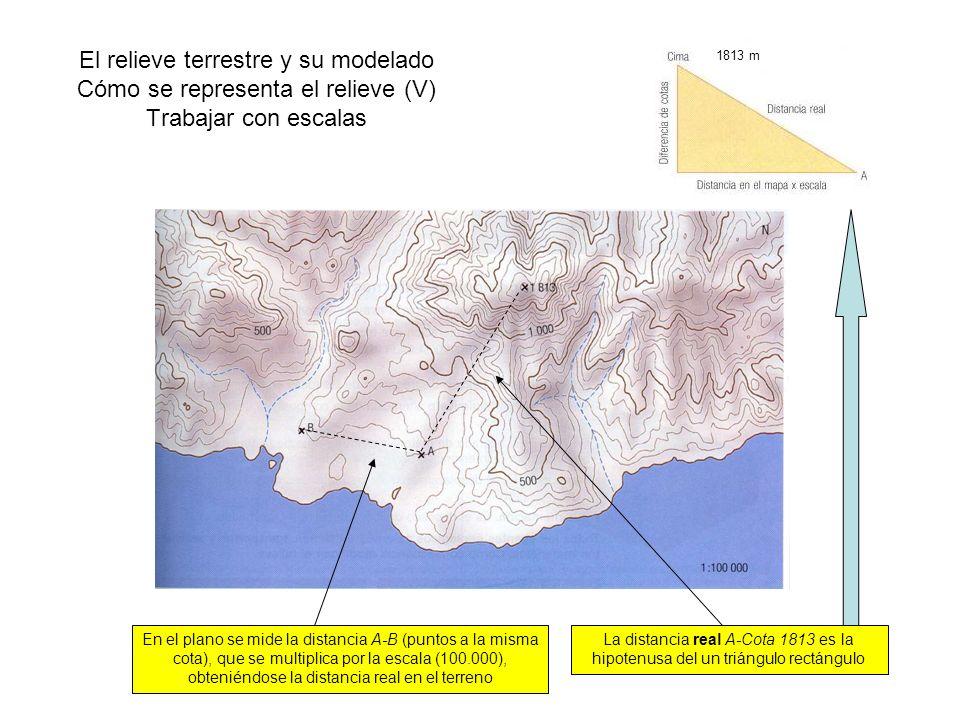 El relieve terrestre y su modelado Cómo se representa el relieve (V) Trabajar con escalas En el plano se mide la distancia A-B (puntos a la misma cota