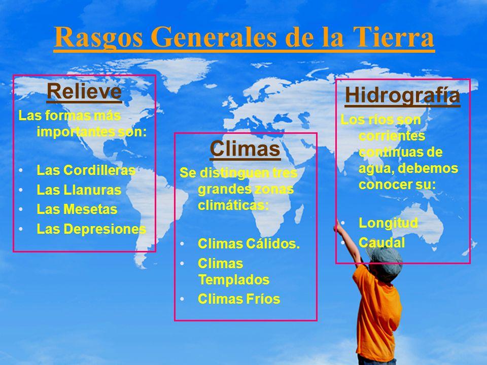 Rasgos Generales de la Tierra Relieve Las formas más importantes son: Las Cordilleras Las Llanuras Las Mesetas Las Depresiones Climas Se distinguen tr