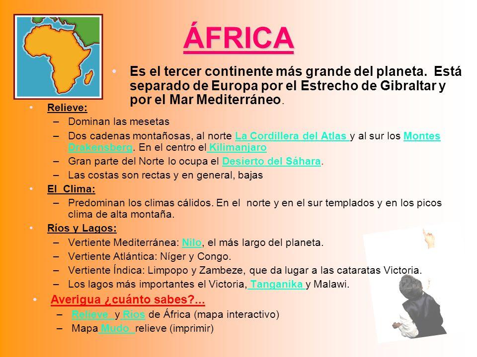 ÁFRICA Relieve: –Dominan las mesetas –Dos cadenas montañosas, al norte La Cordillera del Atlas y al sur los Montes Drakensberg. En el centro el Kilima