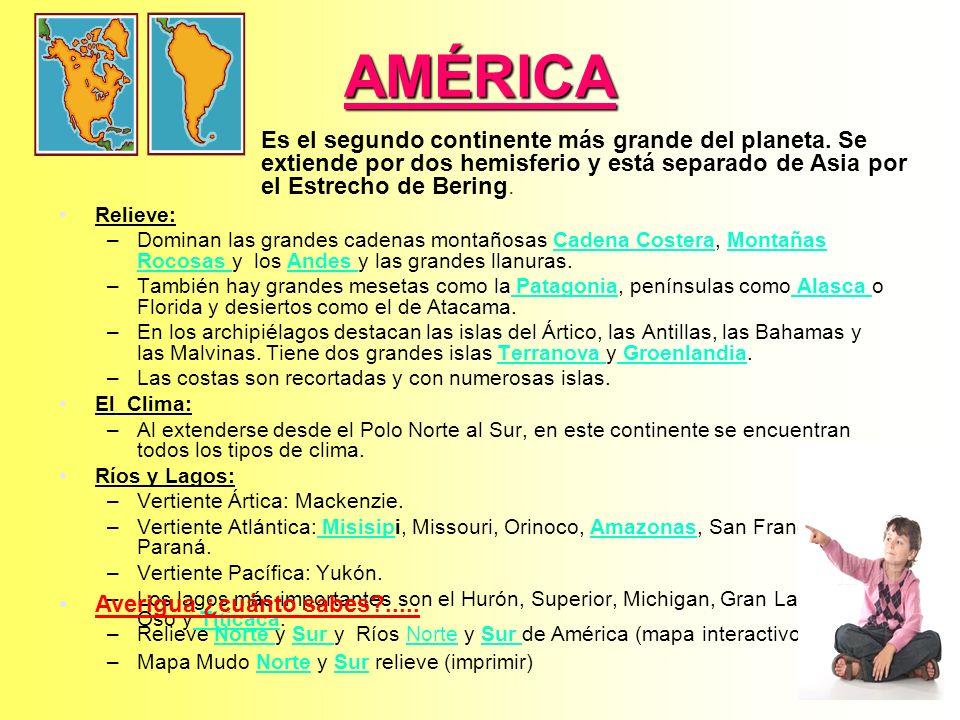 AMÉRICA Relieve: –Dominan las grandes cadenas montañosas Cadena Costera, Montañas Rocosas y los Andes y las grandes llanuras.Cadena CosteraMontañas Ro