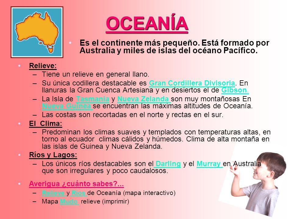 OCEANÍA Relieve: –Tiene un relieve en general llano. –Su única codillera destacable es Gran Cordillera Divisoria. En llanuras la Gran Cuenca Artesiana