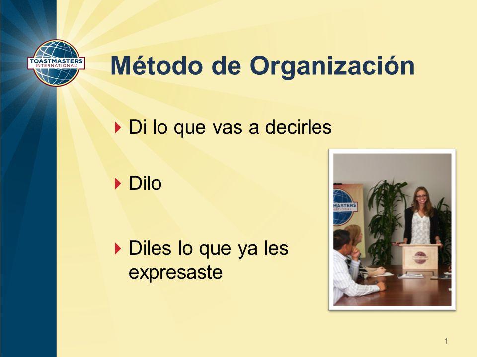 Método de Organización Di lo que vas a decirles Dilo Diles lo que ya les expresaste 1