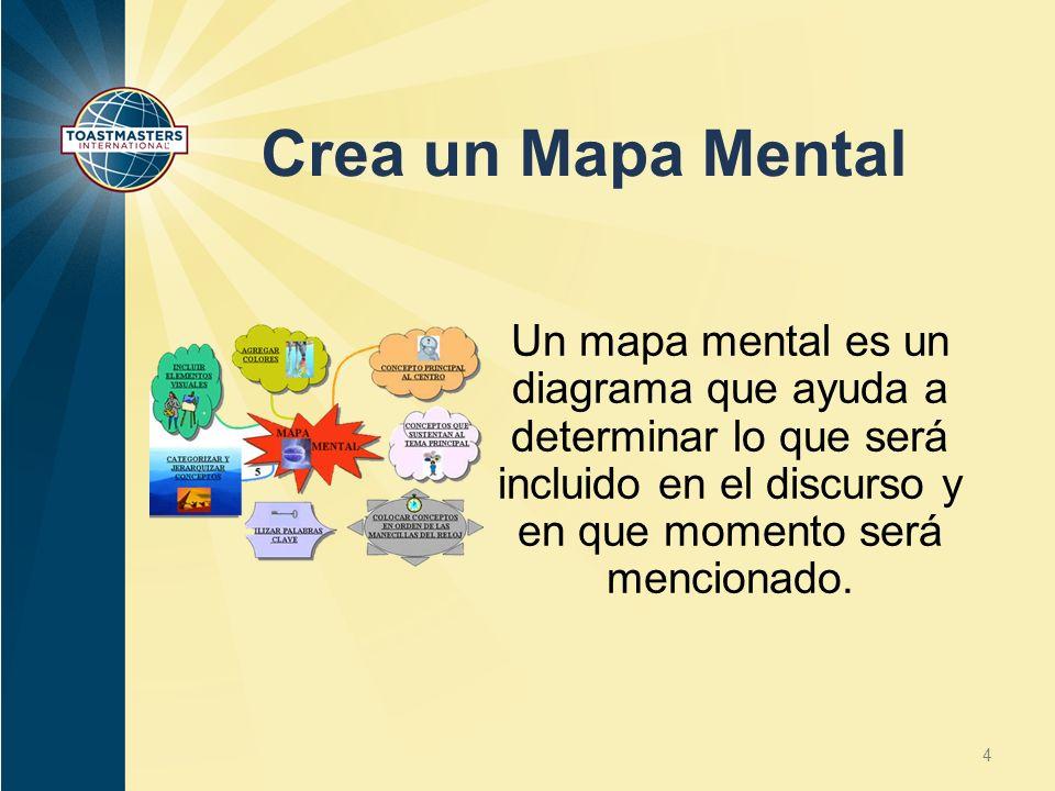 Crea un Mapa Mental Un mapa mental es un diagrama que ayuda a determinar lo que será incluido en el discurso y en que momento será mencionado. 4