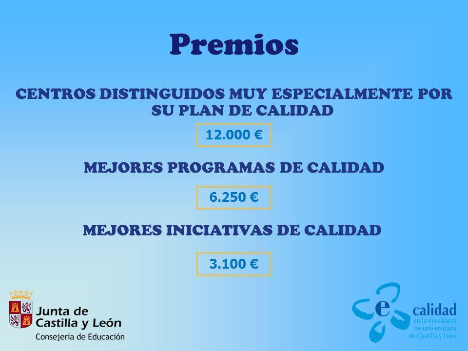 Premios CENTROS DISTINGUIDOS MUY ESPECIALMENTE POR SU PLAN DE CALIDAD MEJORES PROGRAMAS DE CALIDAD MEJORES INICIATIVAS DE CALIDAD 12.000 6.250 3.100
