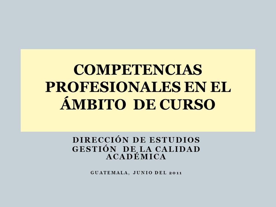 DIRECCIÓN DE ESTUDIOS GESTIÓN DE LA CALIDAD ACADÉMICA GUATEMALA, JUNIO DEL 2011 COMPETENCIAS PROFESIONALES EN EL ÁMBITO DE CURSO
