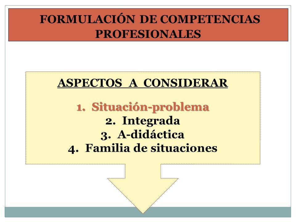 FORMULACIÓN DE COMPETENCIAS PROFESIONALES ASPECTOS A CONSIDERAR 1. Situación-problema 2. Integrada 3. A-didáctica 4. Familia de situaciones