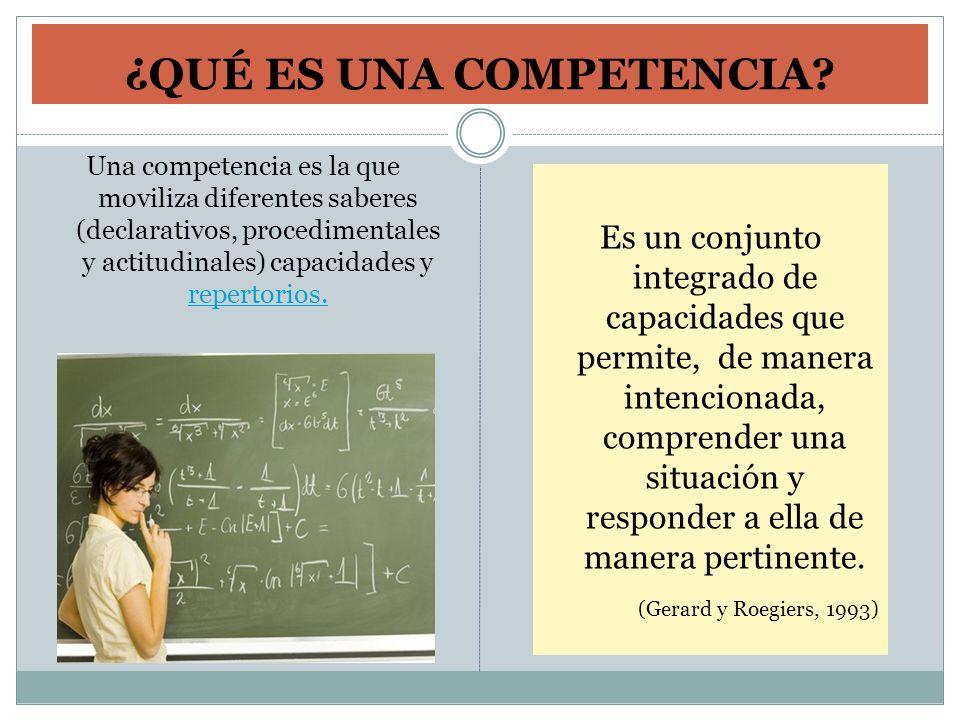 ¿QUÉ ES UNA COMPETENCIA? Una competencia es la que moviliza diferentes saberes (declarativos, procedimentales y actitudinales) capacidades y repertori