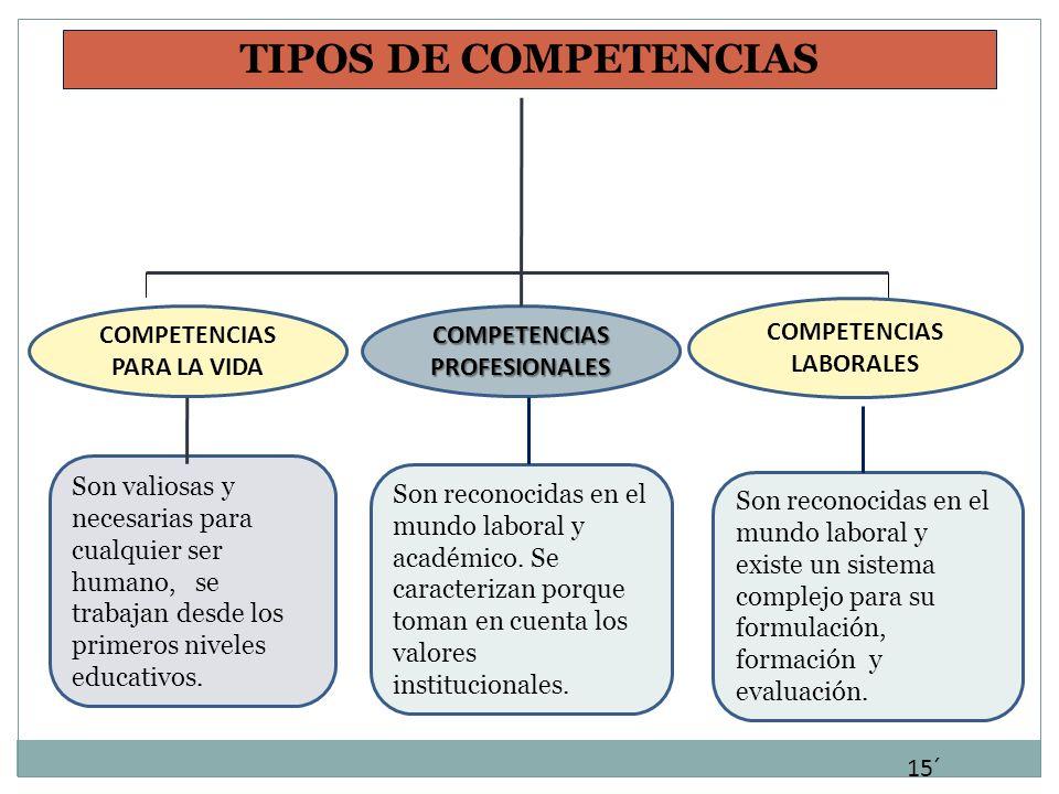 TIPOS DE COMPETENCIAS COMPETENCIAS LABORALES COMPETENCIAS PROFESIONALES COMPETENCIAS PARA LA VIDA Son valiosas y necesarias para cualquier ser humano,