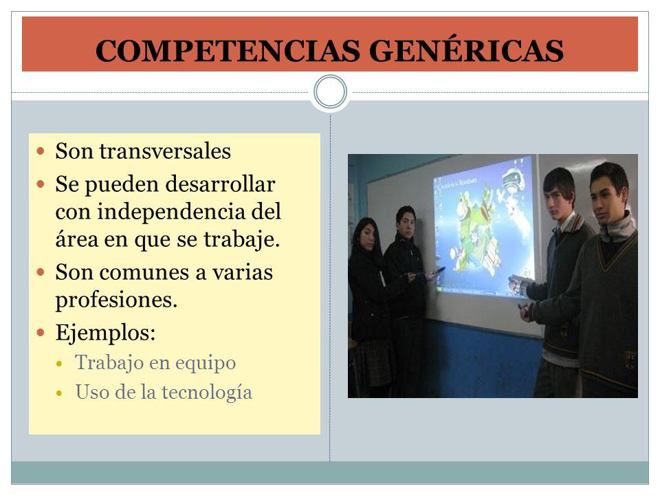 COMPETENCIAS GENÉRICAS Son transversales Se pueden desarrollar con independencia del área en que se trabaje. Son comunes a varias profesiones. Ejemplo