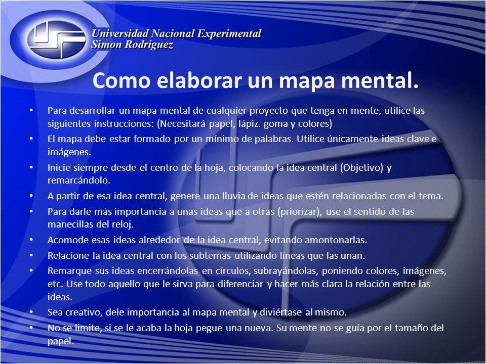 Como elaborar un mapa mental. Para desarrollar un mapa mental de cualquier proyecto que tenga en mente, utilice las siguientes instrucciones: (Necesit