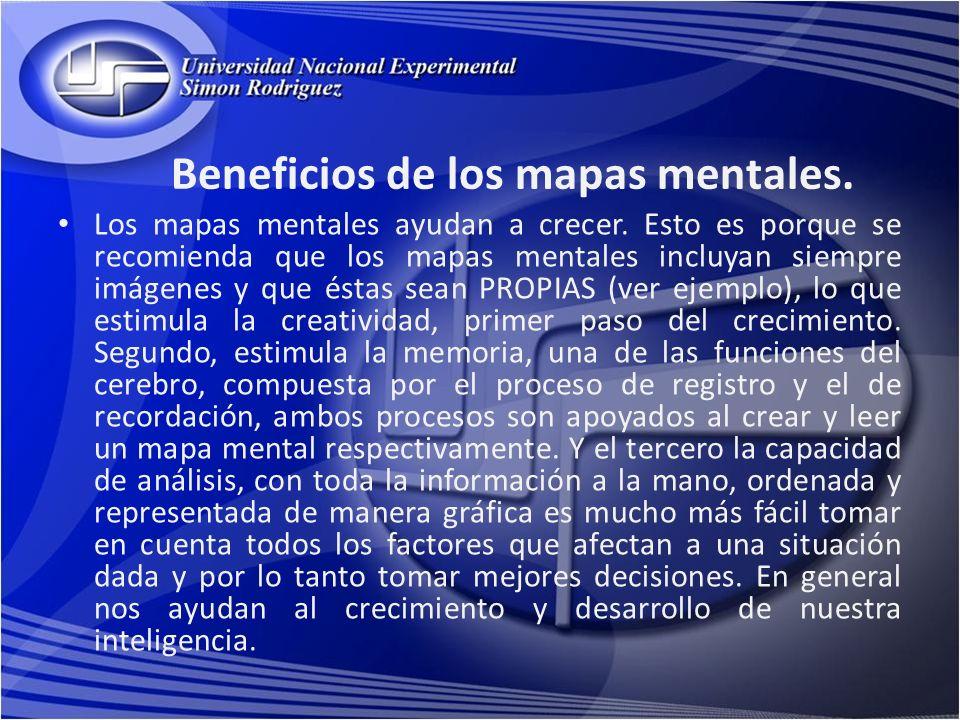 Beneficios de los mapas mentales. Los mapas mentales ayudan a crecer. Esto es porque se recomienda que los mapas mentales incluyan siempre imágenes y