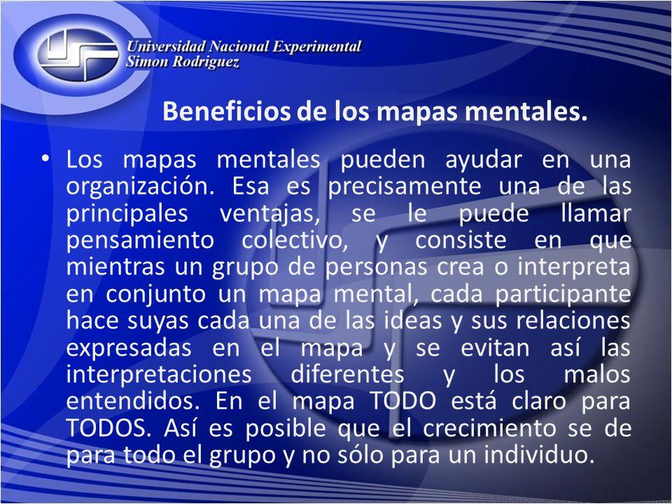 Beneficios de los mapas mentales. Los mapas mentales pueden ayudar en una organización. Esa es precisamente una de las principales ventajas, se le pue