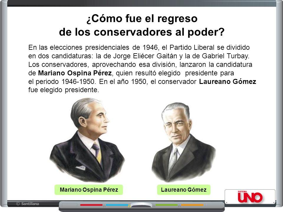 ¿ Cómo fue el regreso de los conservadores al poder? Mariano Ospina PérezLaureano Gómez En las elecciones presidenciales de 1946, el Partido Liberal s