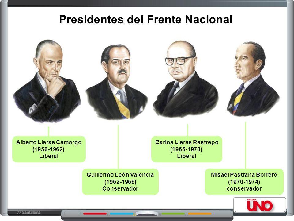 Presidentes del Frente Nacional Alberto Lleras Camargo (1958-1962) Liberal Guillermo León Valencia (1962-1966) Conservador Carlos Lleras Restrepo (196