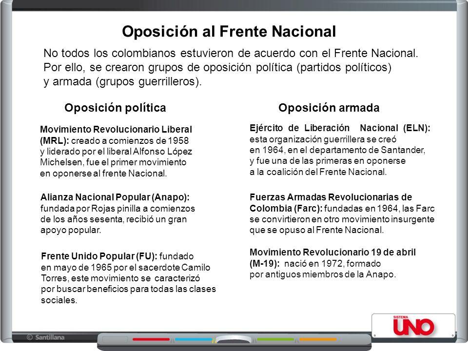 Oposición al Frente Nacional Oposición política En la década de 1960, surgieron nuevos partidos y movimientos políticos que se opusieron al Frente Nac