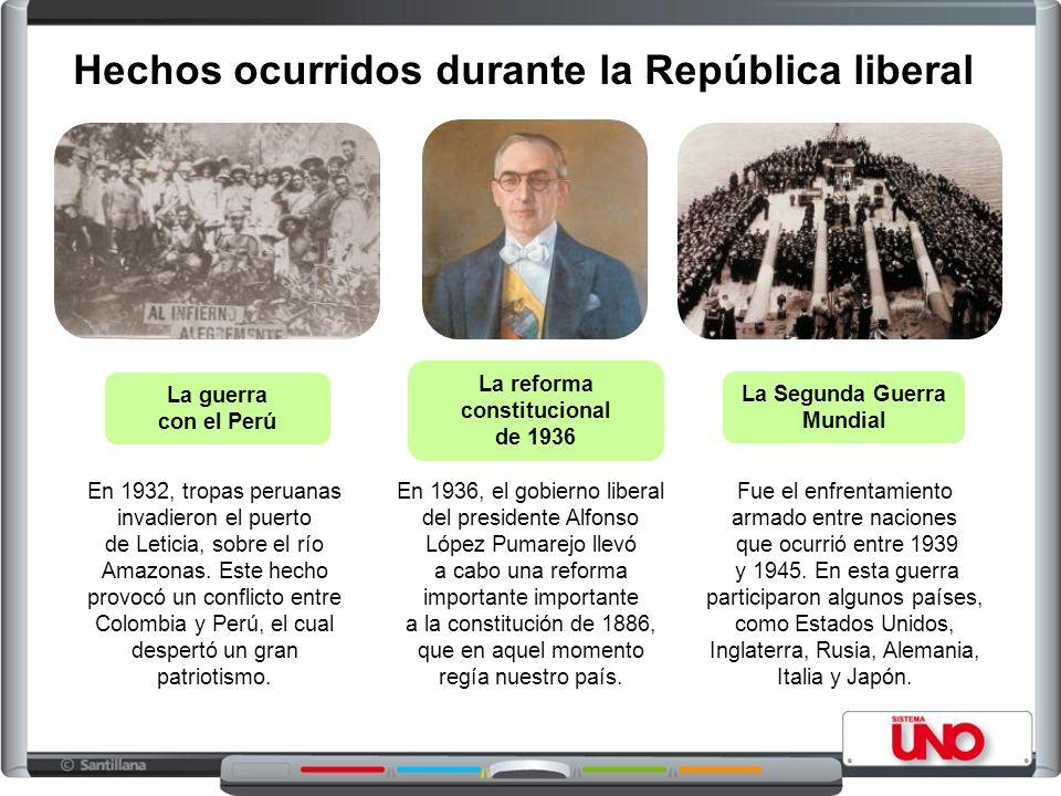 Presidentes de la República liberal Enrique Olaya Herrera (1930-1934) Alfonso López Pumarejo (1934-1938) Eduardo Santos (1938- 1942) Alfonso López Pumarejo (1942-1945)