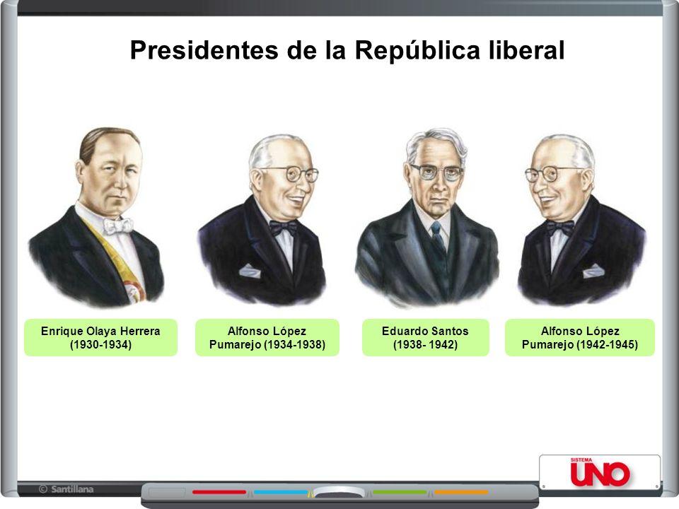 Presidentes de la República liberal Enrique Olaya Herrera (1930-1934) Alfonso López Pumarejo (1934-1938) Eduardo Santos (1938- 1942) Alfonso López Pum