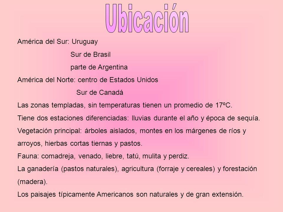 América del Sur: Uruguay Sur de Brasil parte de Argentina América del Norte: centro de Estados Unidos Sur de Canadá Las zonas templadas, sin temperatu