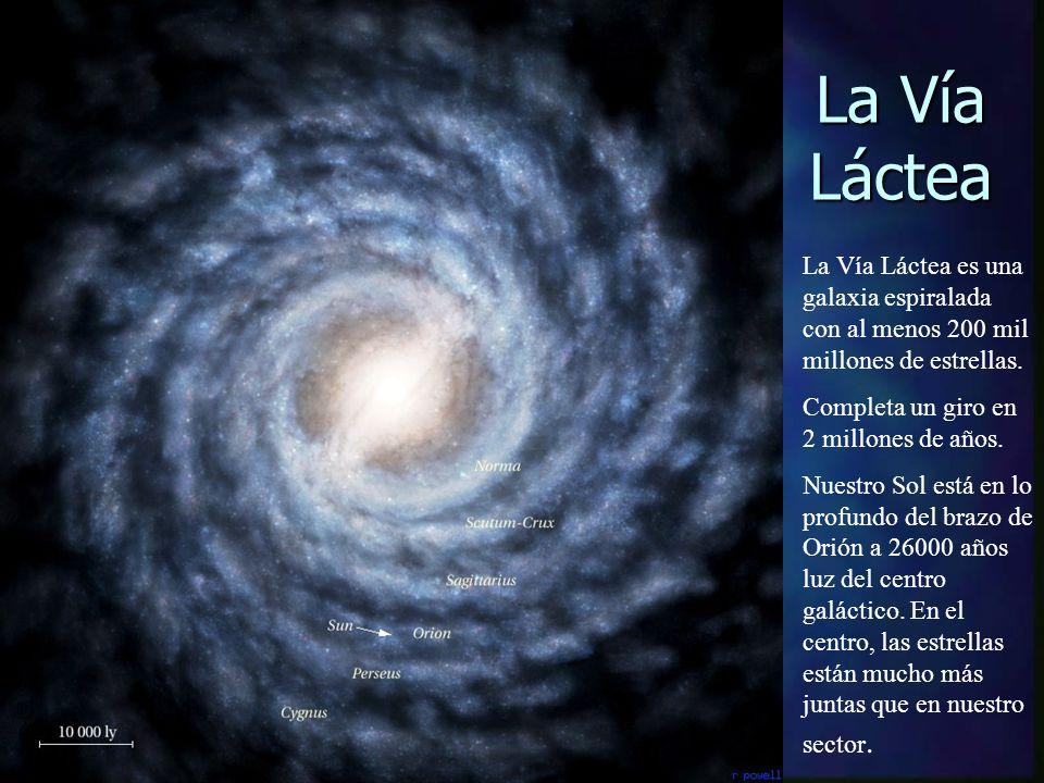 La Vía Láctea La Vía Láctea es una galaxia espiralada con al menos 200 mil millones de estrellas. Completa un giro en 2 millones de años. Nuestro Sol