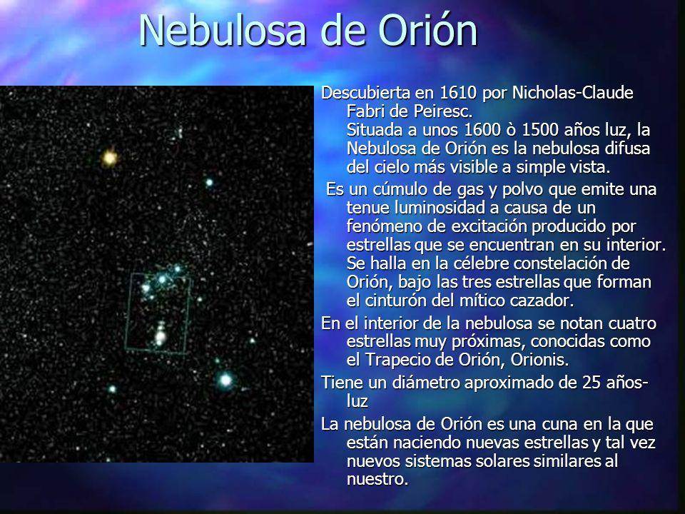 Nebulosa de Orión Descubierta en 1610 por Nicholas-Claude Fabri de Peiresc. Situada a unos 1600 ò 1500 años luz, la Nebulosa de Orión es la nebulosa d