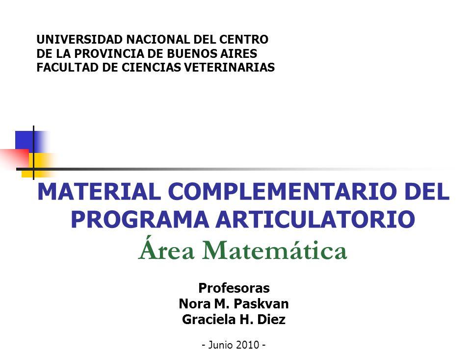 MATERIAL COMPLEMENTARIO DEL PROGRAMA ARTICULATORIO Área Matemática Profesoras Nora M. Paskvan Graciela H. Diez - Junio 2010 - UNIVERSIDAD NACIONAL DEL