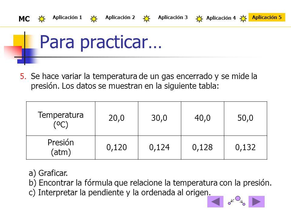 Para practicar… 5. Se hace variar la temperatura de un gas encerrado y se mide la presión. Los datos se muestran en la siguiente tabla: Temperatura (º