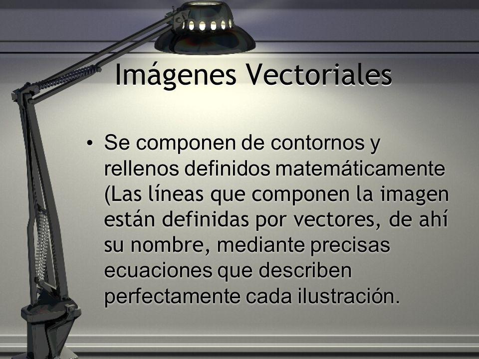 Imágenes Vectoriales Se componen de contornos y rellenos definidos matemáticamente ( Las líneas que componen la imagen están definidas por vectores, d