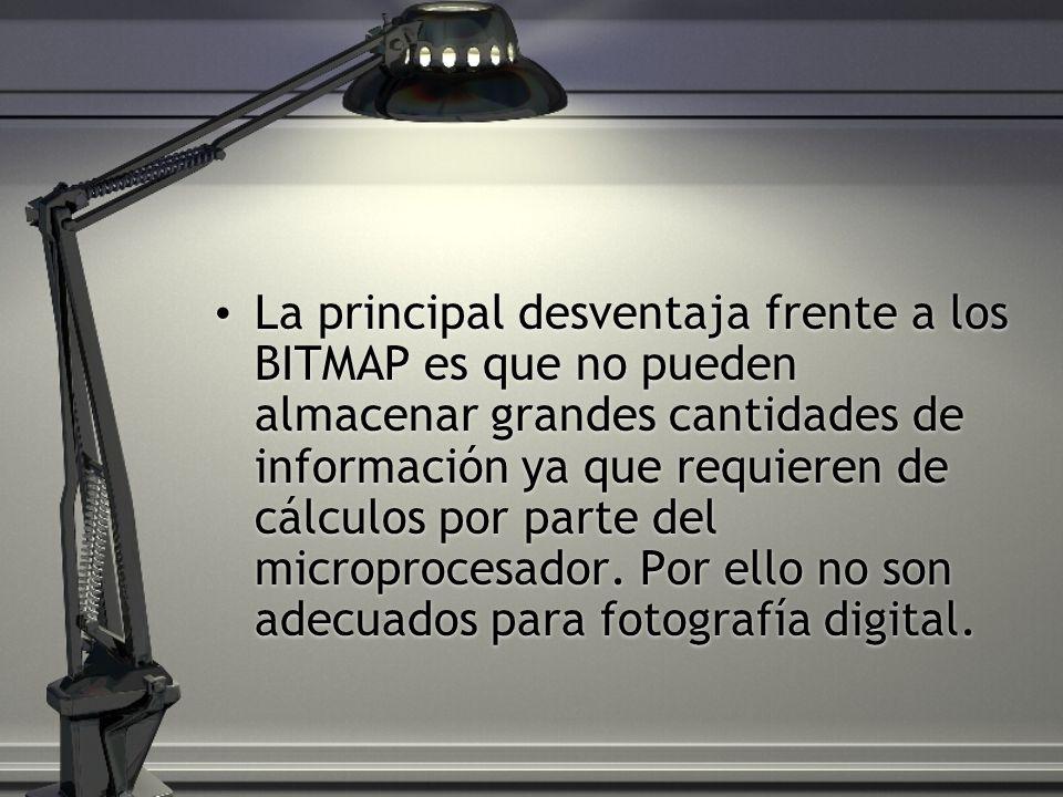 La principal desventaja frente a los BITMAP es que no pueden almacenar grandes cantidades de información ya que requieren de cálculos por parte del mi