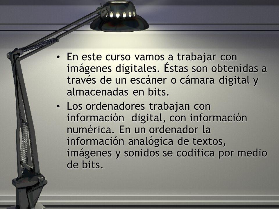 En este curso vamos a trabajar con imágenes digitales.