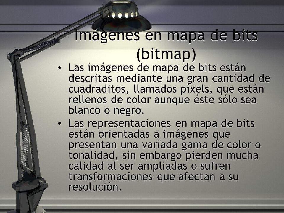 Imágenes en mapa de bits (bitmap) Las imágenes de mapa de bits están descritas mediante una gran cantidad de cuadraditos, llamados píxels, que están rellenos de color aunque éste sólo sea blanco o negro.