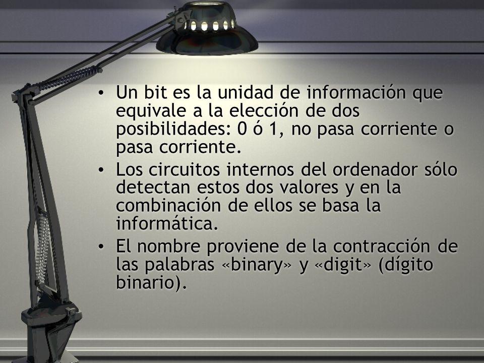 Un bit es la unidad de información que equivale a la elección de dos posibilidades: 0 ó 1, no pasa corriente o pasa corriente.