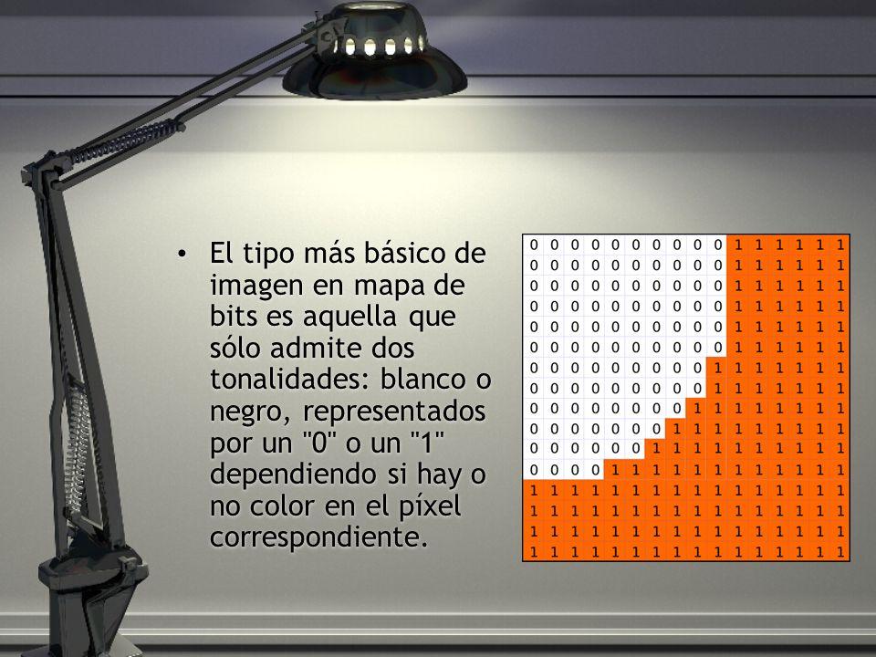 El tipo más básico de imagen en mapa de bits es aquella que sólo admite dos tonalidades: blanco o negro, representados por un