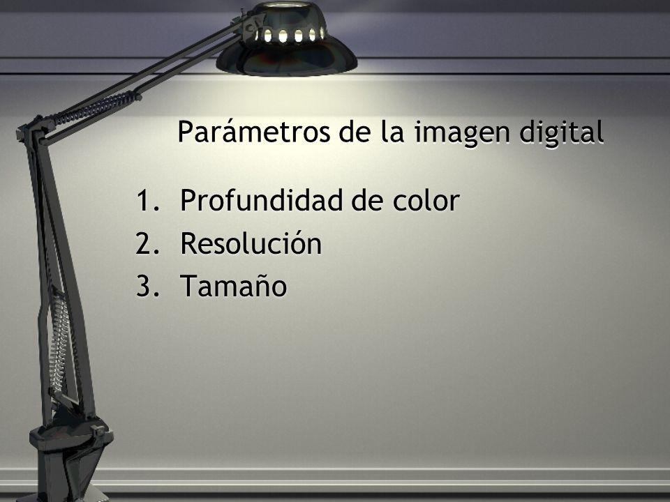 Parámetros de la imagen digital 1.Profundidad de color 2.Resolución 3.Tamaño 1.Profundidad de color 2.Resolución 3.Tamaño