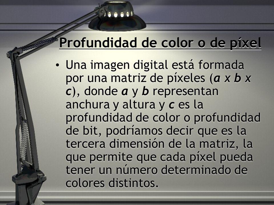 Profundidad de color o de píxel Una imagen digital está formada por una matriz de píxeles (a x b x c), donde a y b representan anchura y altura y c es la profundidad de color o profundidad de bit, podríamos decir que es la tercera dimensión de la matriz, la que permite que cada píxel pueda tener un número determinado de colores distintos.