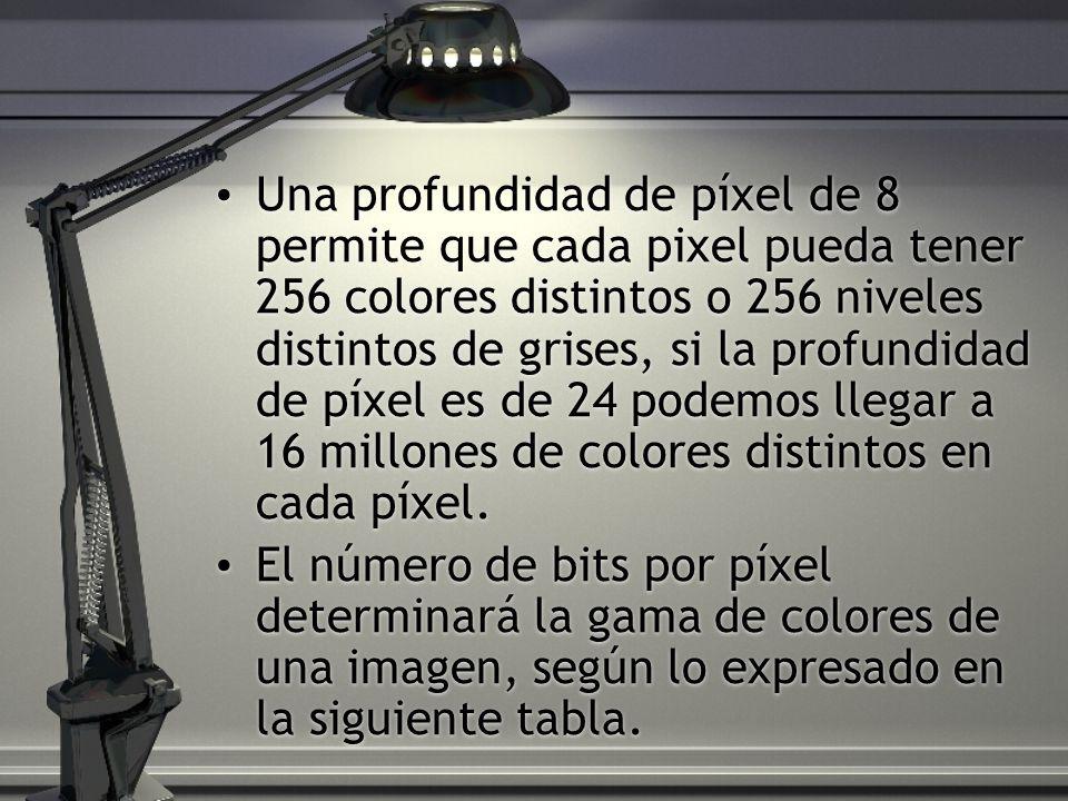 Una profundidad de píxel de 8 permite que cada pixel pueda tener 256 colores distintos o 256 niveles distintos de grises, si la profundidad de píxel e