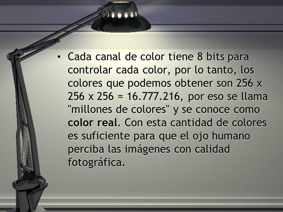 Cada canal de color tiene 8 bits para controlar cada color, por lo tanto, los colores que podemos obtener son 256 x 256 x 256 = 16.777.216, por eso se