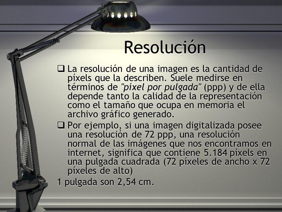 Resolución La resolución de una imagen es la cantidad de píxels que la describen. Suele medirse en términos de