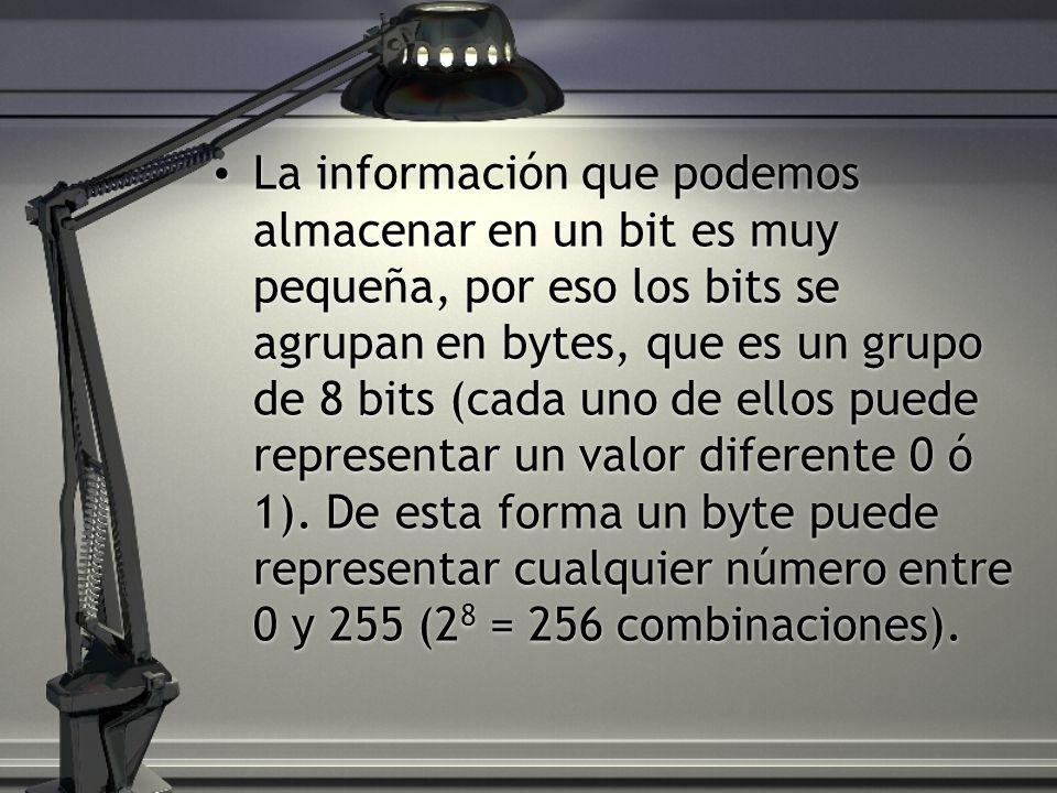 La información que podemos almacenar en un bit es muy pequeña, por eso los bits se agrupan en bytes, que es un grupo de 8 bits (cada uno de ellos puede representar un valor diferente 0 ó 1).