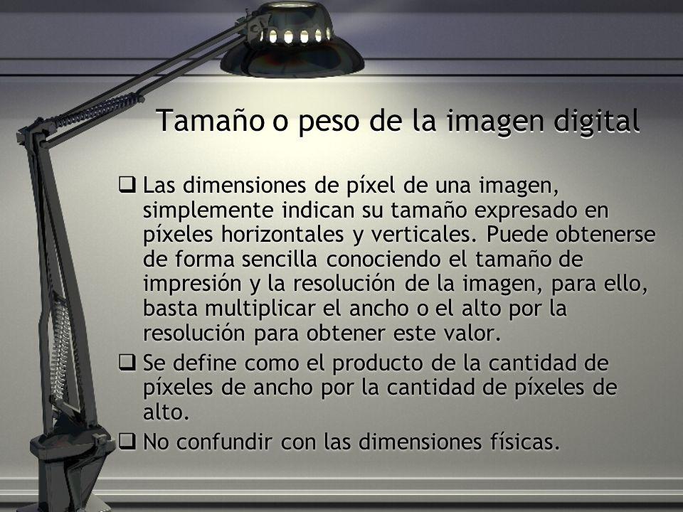 Tamaño o peso de la imagen digital Las dimensiones de píxel de una imagen, simplemente indican su tamaño expresado en píxeles horizontales y verticale