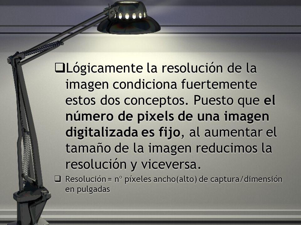 Lógicamente la resolución de la imagen condiciona fuertemente estos dos conceptos. Puesto que el número de pixels de una imagen digitalizada es fijo,